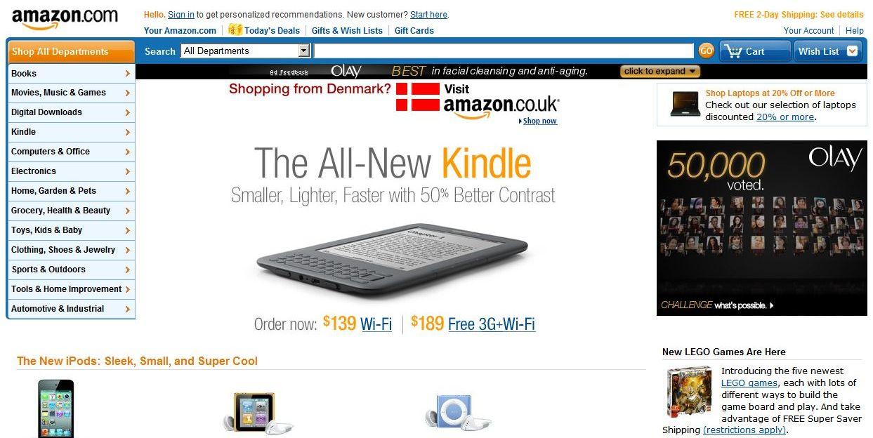 Web Amazon.com - nový Amazon Kindle se nedá přehlédnout