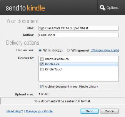 Aplikace Amazon Kindle